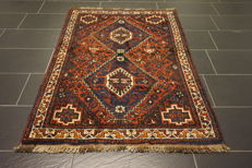 Collector's item, hand-knotted Persian carpet, Qashqai, nomad carpet, wool on wool, made in Iran, 110 x 160 cm