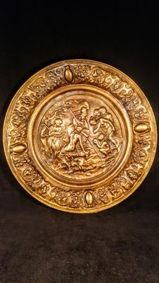 Decorative brass/bronze charger with classical relief scene - ca. late 19th century