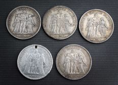 France - 5 Francs 1873 A 'Hercule' (lot of 5 coins) - Silver