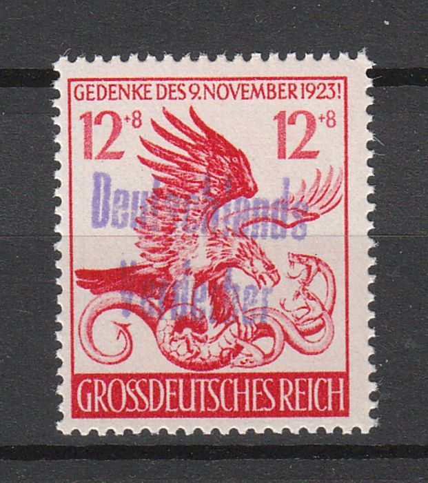"German local issue Meißen 1945 – commemorative postage stamp, Hitler coup with hand stamped overprint ""Deutschlands Verderber"" - Michel H26"