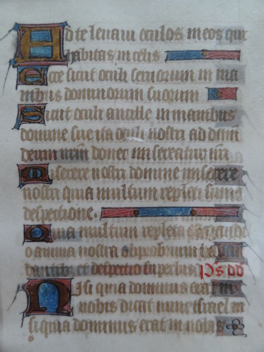 Manuscript leaf from a book of hours - the sext of the Little Office of Our Lady - Psalm 123 and 124 - France - 1430