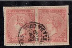 Cuba 1869 - Isabel II  Pair used for inside the island  Cárdenas Echenagusia certificate - Edifil 23