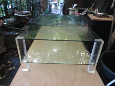 Manufacturer unknown - glass coffee table with plexiglass legs
