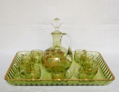 Baccarat crystal liquor set, pale green enhanced with fine gold - circa 1900