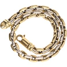 18 kt - Bi-colour, yellow/white gold anchor link bracelet - Length:  20 cm