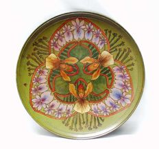 P. Ipsen, Copenhagen - Art Nouveau polychrome pottery decorative plate