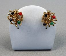 14 kt earring set with various beads of coloured stone Handmade.
