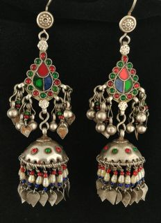 Antique handmade silver earrings - Pakistan, mid-20th century