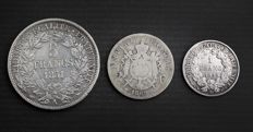 France - lot of 3 coins (1 franc to 5 francs) 1851/1895 - silver