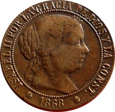 Spain - Isabel II (1833–1869) - 1 escudo cent in copper. 1868. Barcelona.