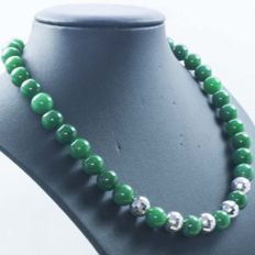 Necklace of Emerald with disco Beads and 925 Sterling Silver clasp
