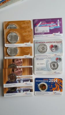 The Netherlands - Coin cards 2013/2014 (including 1st issue Treaty of Utrecht and King's tenner) - 16 pieces in total