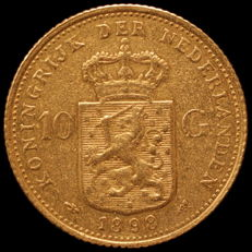 The Netherlands - 10 guilder coin 1898b, Wilhelmina (variation without the dot between the name of the engraver) - gold