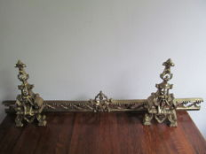 Brass bronze alloy fender attachment, brass fireplace andirons - France - late 19th century