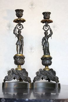 Two bronze and brass figural candlesticks in Louis Philippe style - Italy - ca. 1890