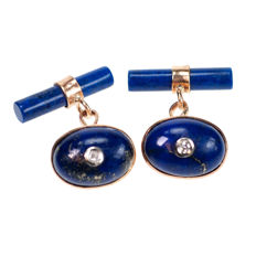 Diamond, Lapis Lazulis, 9k gold cuff links, ca. 1930