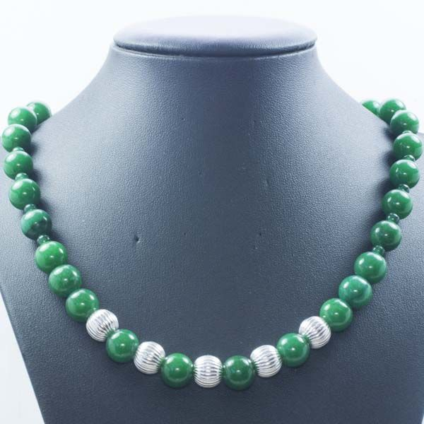 Necklace of Emerald with disco Beads 925 Sterling silver clasp