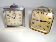Jaz and Brevette - 2 various Art Deco alarm clocks