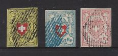 Switserland 1850/1852 - selection Rayon seals - Michel 8, 9, and 12.