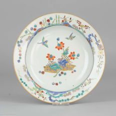 Plate Birds & Flowers Gold Bamboo - China - 18th century
