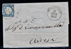 Historic States of Italy, 1860-1863 - Lot of four letters from Naples to the two fragments from Sardinia