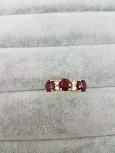 Trilogy Ring - Ruby and 0.20 ct Diamonds - Made in Italy