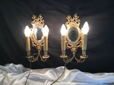 Pair of wall lights in bronze with cherub decors - France - circa 1900