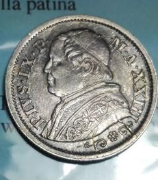 Papal State - 10 soldi 1868 (Year 23) - variant with broad edge and small R - Pio IX - silver