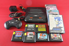 Sega Mega Drive II console with 9 games eg, Sonic, Shaq-Fu,  Olympic Gold and more