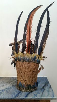 Headdress in basketry and feathers - Amazon - expert John ROUDILLON May 2003