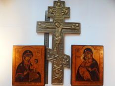 Set of  two russian orthodox  icon and the russian bronze Crucifix, hand painted, tempera, wood, bronze casting, XX th century