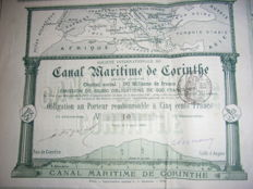 Pair of 2: Canal Maritime de Corinthe, Obligation #10 (1888) and share certificate (1886), pictorial