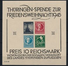 Soviet Zone - Thuringia - 1945 - Christmas block on cardboard paper, without black perforation Michel Block 2 S (I)