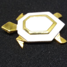 Vintage Signed Crown Trifari Small Enamel Turtle GoltoneBrooch/Pin