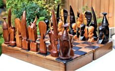 Chess set with African figures