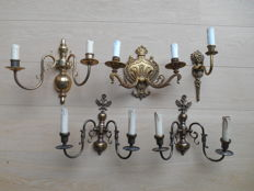 5 Old sconces in bronze and brass