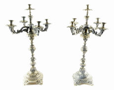 Pair of silver sectional candelabra for five lights. Domingo Galtés, Barcelona, 19th century