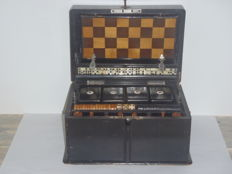 Antique chess games and other games in box