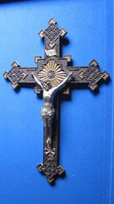 Beautiful carving work of a large cross, circa 1900