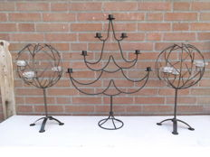 Two wrought iron apple trees and fir tree for tea lights and candles.