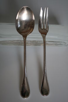 Christofle, serving utensils - beaded model (Silver Plated Metal)