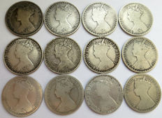 United Kingdom - Florin (two Shillings) 1853/1879 (12 different) - silver