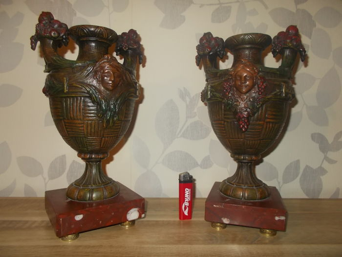 Pair of French vases/cassolettes, marble and metal alloy, from around 1900