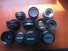 A lot of 11 different lenses, various brands, 1960s