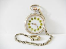 Nice antique Roskopf pocket watch with cartouche dial and chain