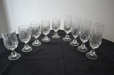 9 transparent Bohemia Crystal glasses