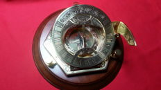 The discovery of America commemorative equinoctail sundial, 24 carat gold-plated