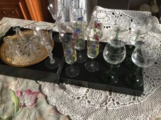 1 lot of 21 wine glasses on foot for various drinks