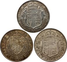 United Kingdom - ½ Crown 1899 Victoria and 1902 Edward VII + 1918 George V (3 coins) - silver