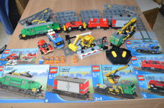 Trains City - 7898 + 7936 - cargo train deluxe + Level crossing